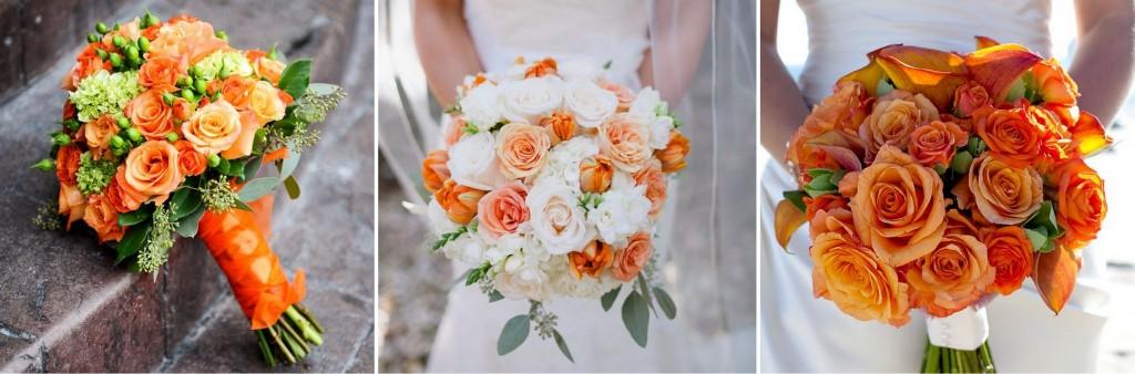 pomarańczowe bukiety ślubne
