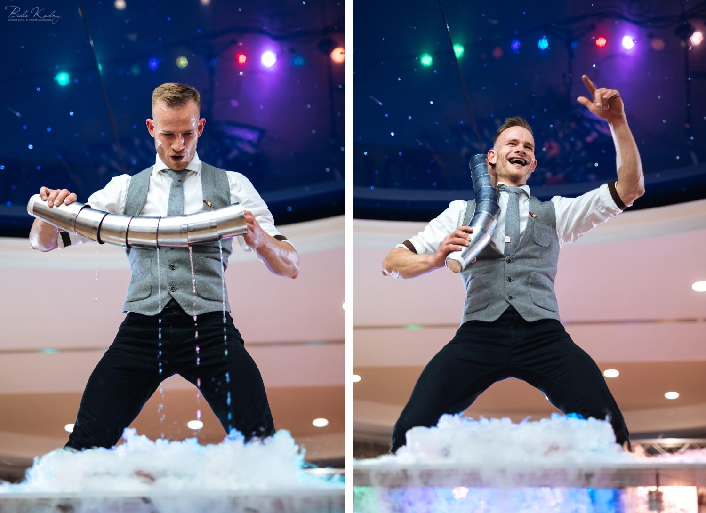 Flair show na weselu, Krzysiek Bajerski i fotografia Białe Kadry
